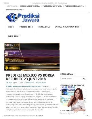 Prediksi mexico vs korea republic 23 juni 2018 prediksi jawara
