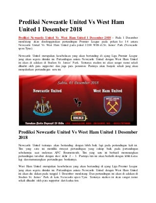 Prediksi newcastle united vs west ham united 1 desember 2018