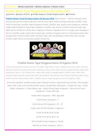 Sgp Prize Jayatogel
