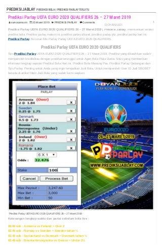 Prediksi Parlay UEFA EURO 2020 QUALIFIERS 26 - 27 Maret 2019