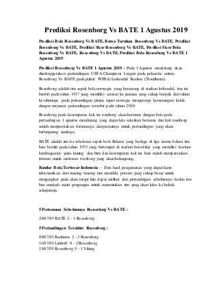 Prediksi rosenborg vs bate 1 agustus 2019