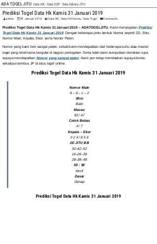daftar togel pengeluaran 2019