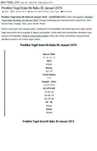 Prediksi Togel Data Hk Rabu 30 Januari 2019