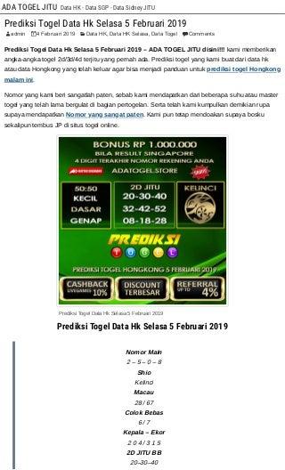 Prediksi Togel Data Hk Selasa 5 Februari 2019