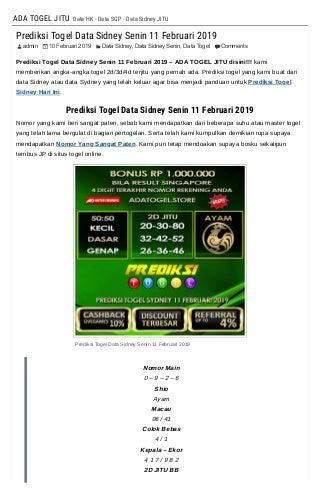 Prediksi Togel Data Sidney Senin 11 Februari 2019