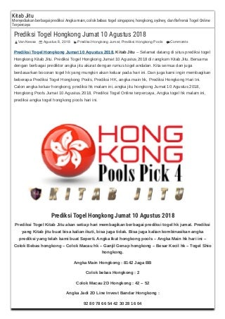 Prediksi togel hongkong jumat 10 agustus 2018