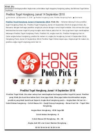 Prediksi togel hongkong jumat 14 september 2018