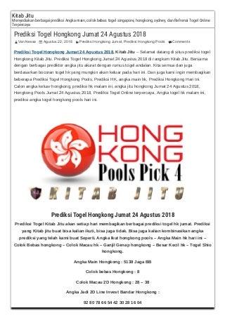 Prediksi togel hongkong jumat 24 agustus 2018