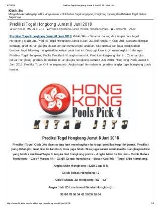 Prediksi togel hongkong jumat 8 juni 2018 kitab jitu