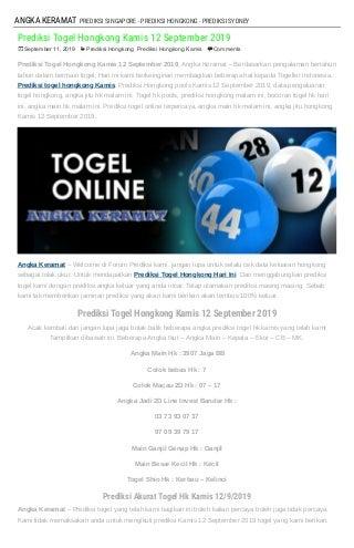 """Prediksi Togel Hongkong Kamis 12 September 2019"""