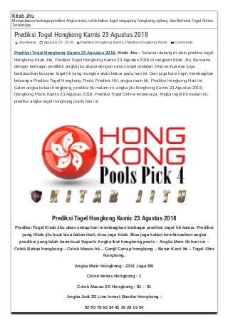 Prediksi togel hongkong kamis 23 agustus 2018