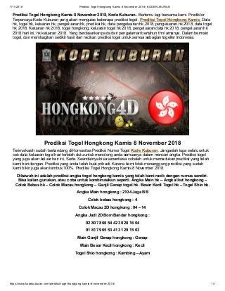 Prediksi Togel Hongkong Kamis 8 November 2018 - KODEKUBURAN pdf