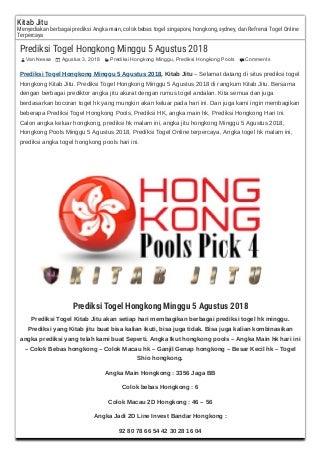 bandar togel hongkong 13 agustus 2018