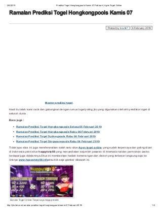 Prediksi togel hongkongpools kamis 07 februari agen togel online jitulah