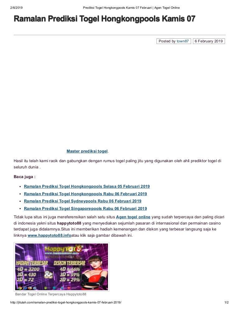 Prediksi Togel Hongkongpools Kamis  Februari Agen Togel Online