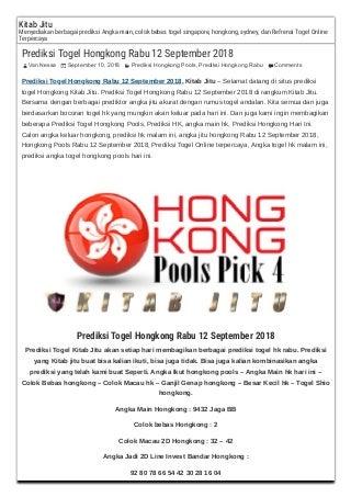Prediksi togel hongkong rabu 12 september 2018