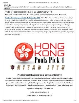 Prediksi togel hongkong sabtu 29 september 2018 kitab jitu