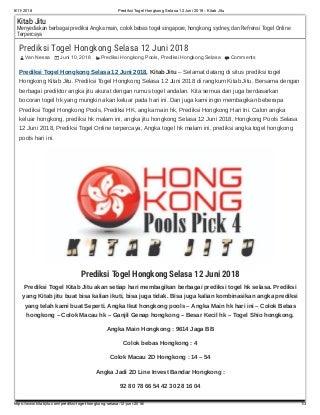 Prediksi togel hongkong selasa 12 juni 2018 kitab jitu