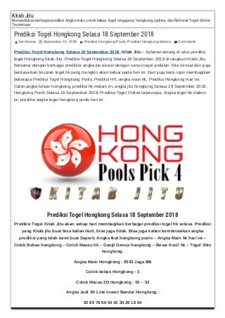 Prediksi togel hongkong selasa 18 september 2018
