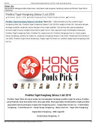 Prediksi togel hongkong selasa 3 juli 2018 kitab jitu hongkong pools