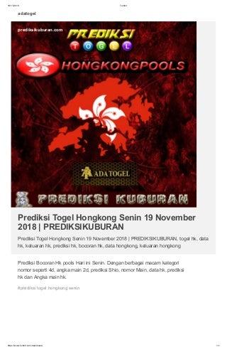 Prediksi Togel Hongkong Senin 19 November 2018 - PREDIKSIKUBURAN