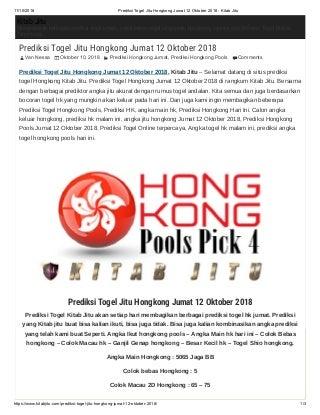 Prediksi togel jitu hongkong jumat 12 oktober 2018