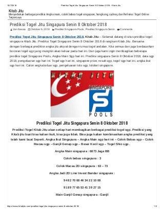 Prediksi togel jitu singapura senin 8 oktober 2018