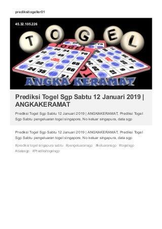 Prediksi Togel Sgp Sabtu 12 Januari 2019 - ANGKAKERAMAT