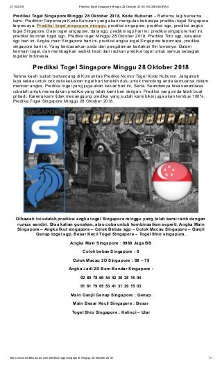 Prediksi Togel Singapore Minggu 28 Oktober 2018 - KODEKUBURAN