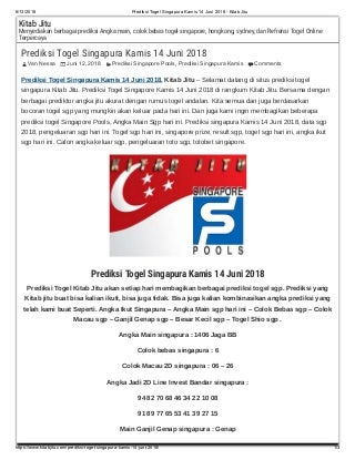 result togel sgp 6 juni 2018
