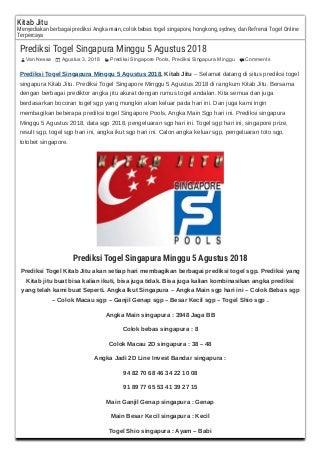 Prediksi togel singapura minggu 5 agustus 2018