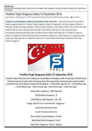 Prediksi togel singapura sabtu 15 september 2018