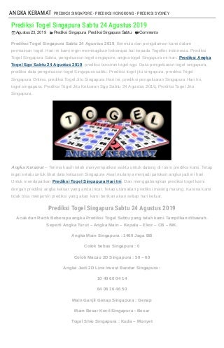 data result togel singapura