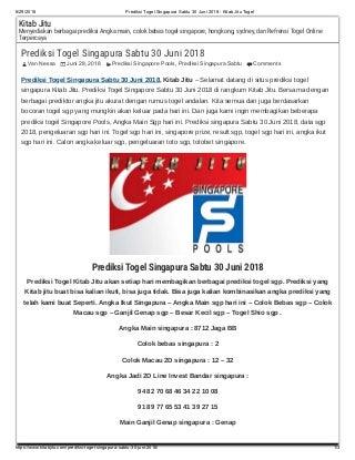 Prediksi togel singapura sabtu 30 juni 2018 kitab jitu togel