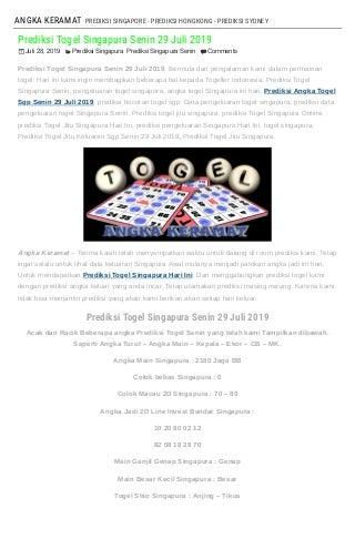 """Prediksi Togel Singapura Senin 29 Juli 2019"""
