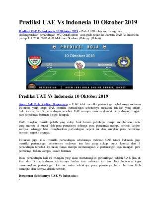 Prediksi uae vs indonesia 10 oktober 2019