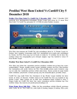 Prediksi west ham united vs cardiff city 5 desember 2018