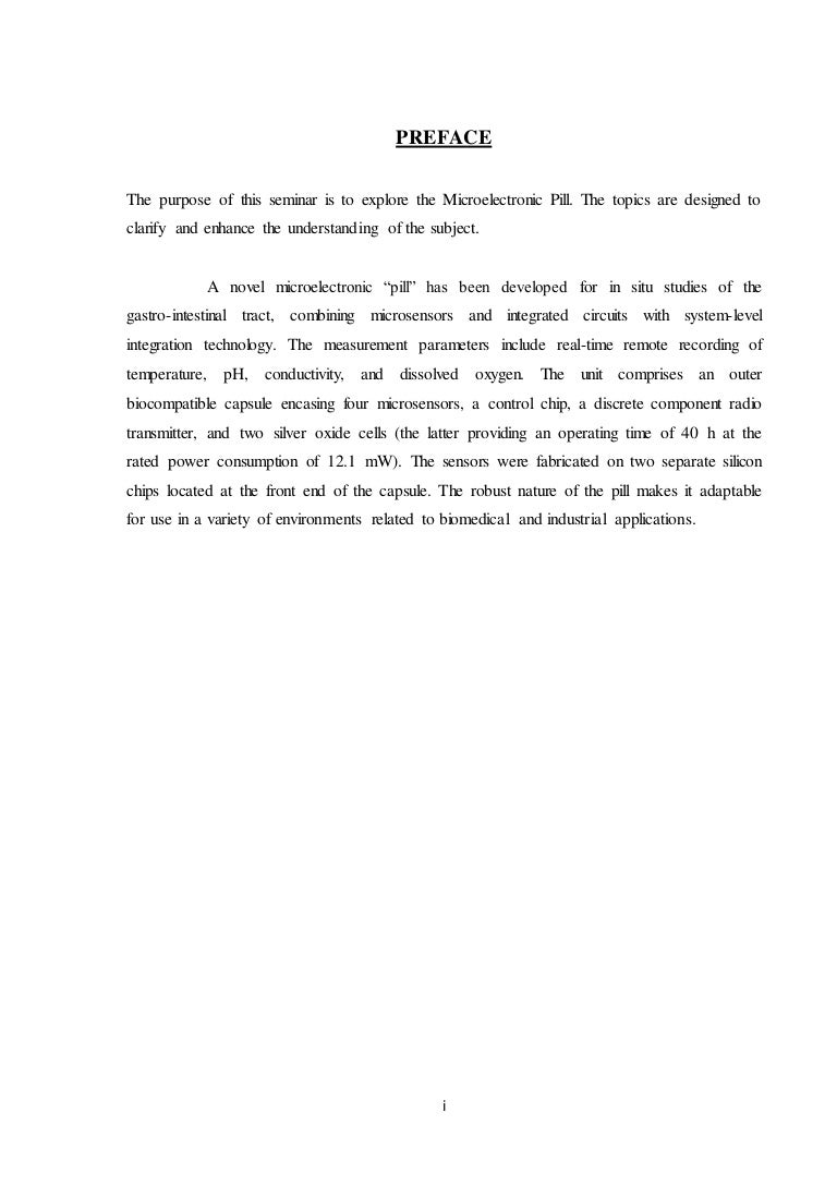 Preface Ack And Content For Report On Micro Electronic Pill Operation Uses Of Integrated Circuits