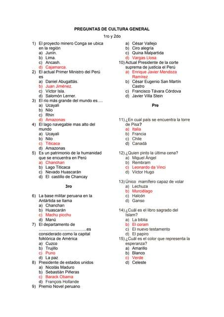 Examen De Admision Cultura 2009 I