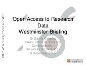 Access to Research Data - Westminster Briefing