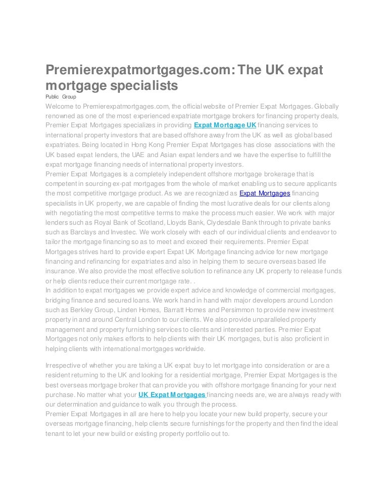Premier Expat Mortgages Expat Mortgage Financing Services