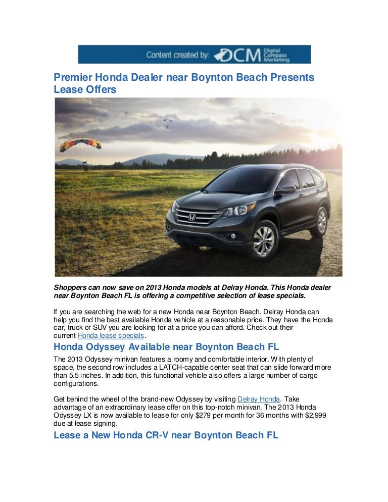 Honda Odyssey Lease >> Premier Honda Dealer Near Boynton Beach Presents Lease Offers