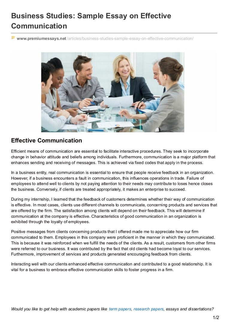 premiumessays net business studies sample essay on effective communic
