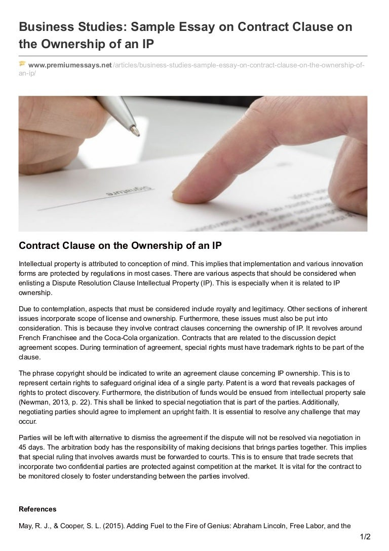 Premiumessaysnet Business Studies Sample Essay On Contract Clause On