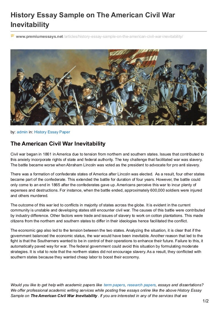 premiumessays net history essay sample on the american civil war inev