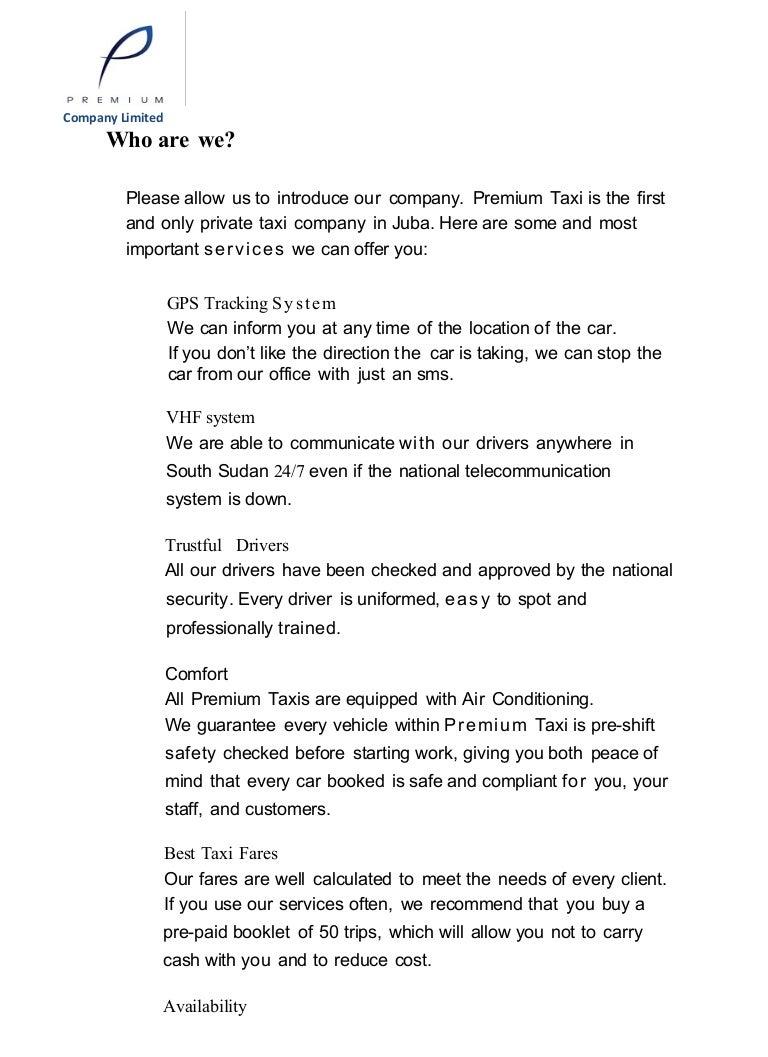 Premium Taxi Company Profile
