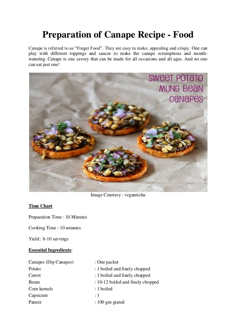 Preparation of canape recipe forumfinder
