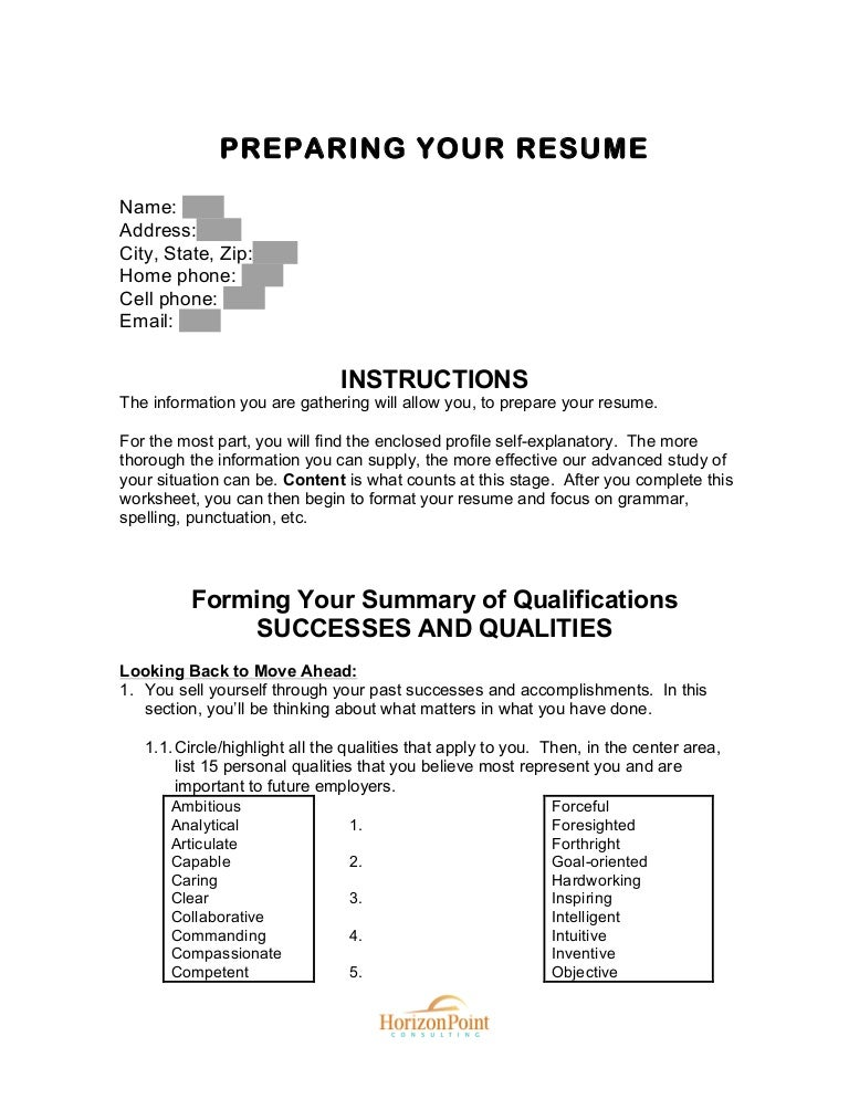 Printables Resume Worksheet resume preparation worksheet preparing your slideshare