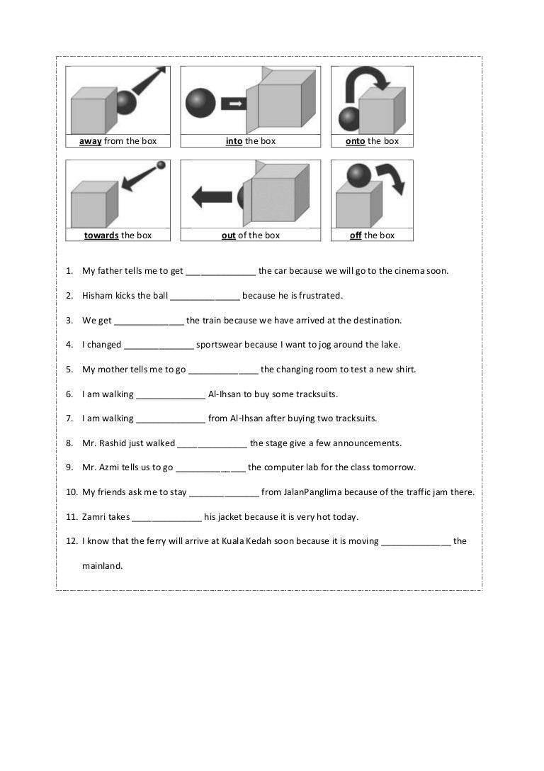 Preposition Worksheet Year 4