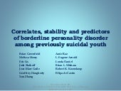 Correlates, stability and predictors of borderline personality disorder among previously suicidal youth